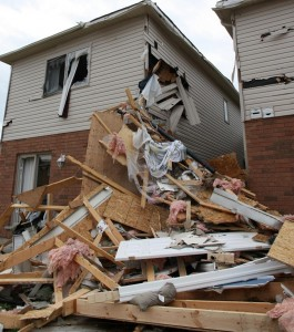 This home in Angus, Ontario was severely damaged after being struck by the roof of another house.