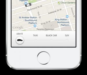 Uber app - uberX Toronto; source: http://blog.uber.com/uberXToronto
