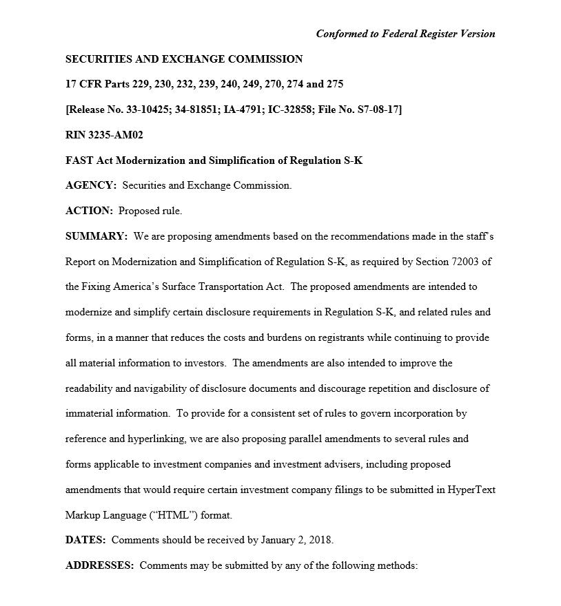 Regulation S-K Proposal